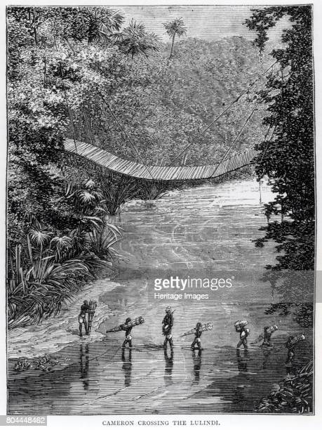 Cameron Crossing the Lulindi' Congo 1870s Sent to Africa in 1873 to assist David Livingstone Verney Lovett Cameron encountered Livingstone's servants...