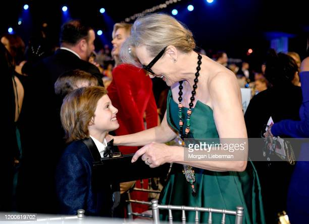 Cameron Crovetti and Meryl Streep attend the 26th Annual Screen ActorsGuild Awards at The Shrine Auditorium on January 19 2020 in Los Angeles...