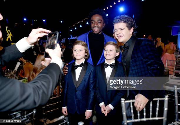 Cameron Crovetti Caleb McLaughlin Nicholas Crovetti and Gaten Matarazzo attend the 26th Annual Screen ActorsGuild Awards at The Shrine Auditorium on...