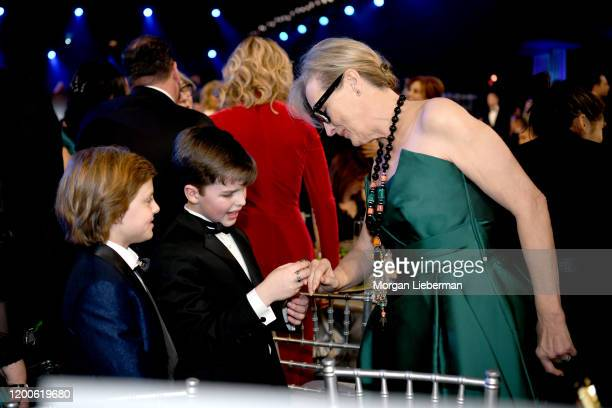 Cameron Crovetti Iain Armitage and Meryl Streep attend the 26th Annual Screen ActorsGuild Awards at The Shrine Auditorium on January 19 2020 in Los...