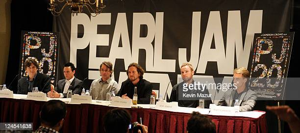 Cameron Crowe Mike McCready Stone Gossard Eddie Vedder Jeff Ament and Matt Cameron of Pearl Jam attend the 'Pearl Jam Twenty' press conference at the...