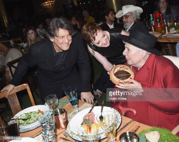 Cameron Crowe The Music Center President and CEO Rachel S Moore and Joni Mitchell attend Joni 75 A Birthday Celebration Live At The Dorothy Chandler...