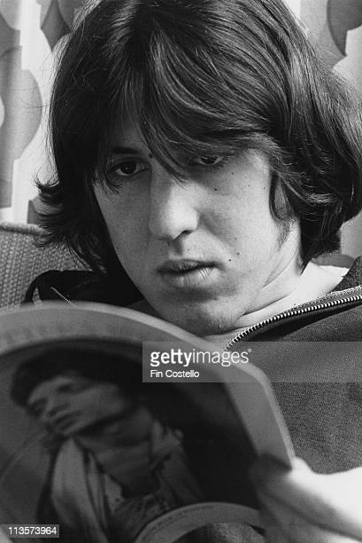 Cameron Crowe US film director and music journalist reading a magazine while on tour with Deep Purple USA 28 February 1974
