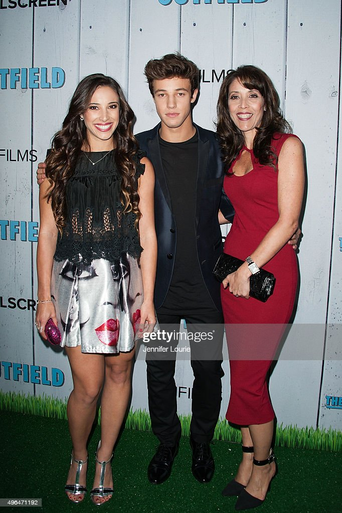 Cameron Dallas (C) and guests arrive at the Fullscreen Films presents Premiere of 'The Outfield' at AMC CityWalk Stadium 19 at Universal Studios Hollywood on November 9, 2015 in Universal City, California.