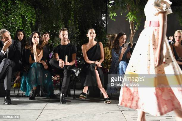 Cameron Dallas and Lily Aldridge attend Carolina Herrera fashion show during New York Fashion Week at The Museum of Modern Art on September 11 2017...