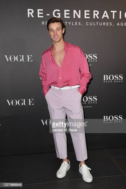 Cameron Dallas arrives for the BOSS VOGUE Italia Event at Hotel Viu Milan on February 21 2020 in Milan Italy