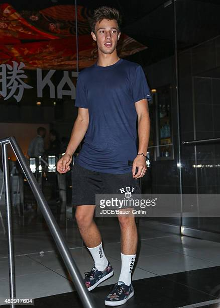 Cameron Dallas is seen leaving the Katsuya Restaurant on August 03 2015 in Los Angeles California