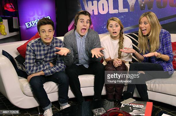 Cameron Dallas Marcus Johns and Lia Marie Johnson at the Young Hollywood Studio on December 8 2014 in Los Angeles California