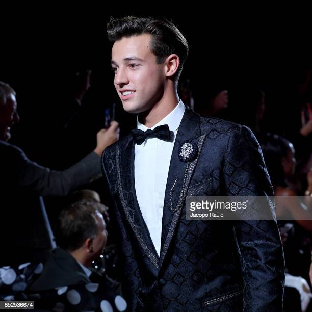 Cameron Dallas walks the runway at the Dolce Gabbana secret show during Milan Fashion Week Spring/Summer 2018 at Bar Martini on September 23 2017 in...