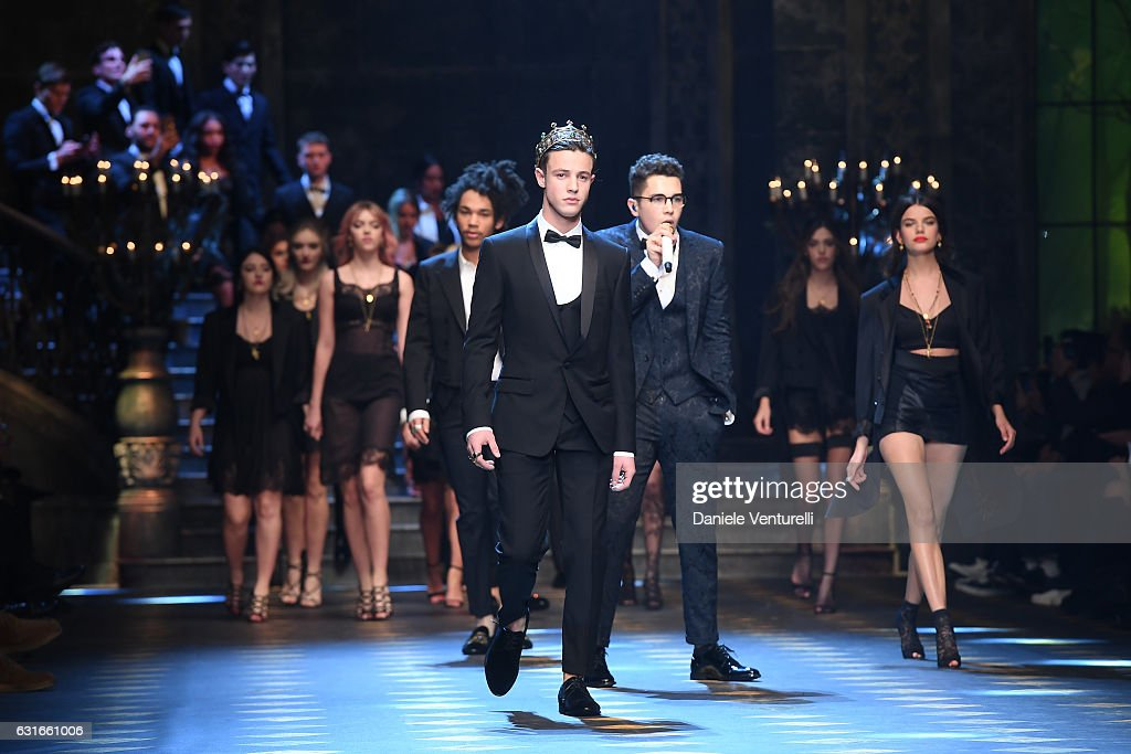 Cameron Dallas walks the runway at the Dolce & Gabbana show during Milan Men's Fashion Week Fall/Winter 2017/18 on January 14, 2017 in Milan, Italy.