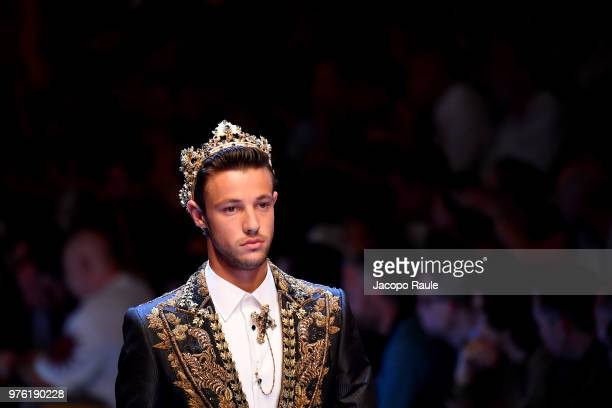 Cameron Dallas walks the runway at the Dolce Gabbana show during Milan Men's Fashion Week Spring/Summer 2019 on June 16 2018 in Milan Italy