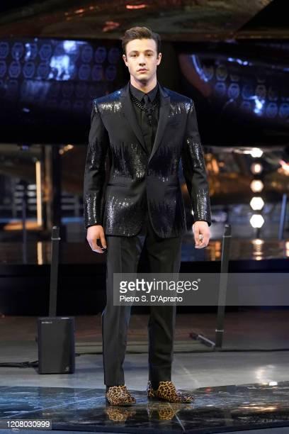 Cameron Dallas walks the runway during the Philipp Plein fashion show as part of Milan Fashion Week Fall/Winter 20202021 on February 22 2020 in Milan...
