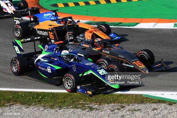 Cameron Das of United States and Carlin Buzz Racing and Jack Doohan of Australia and HWA Racelab battle for position during race two of the Formula 3...