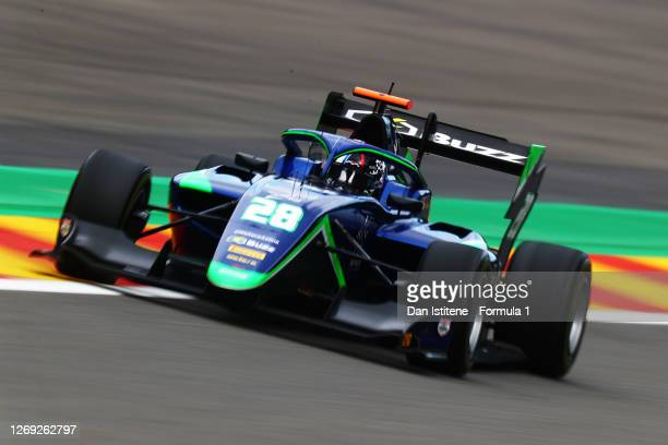 Cameron Das of United States and Carlin Buzz Racing drives on track during practice for the Formula 3 Championship at Circuit de Spa-Francorchamps on...