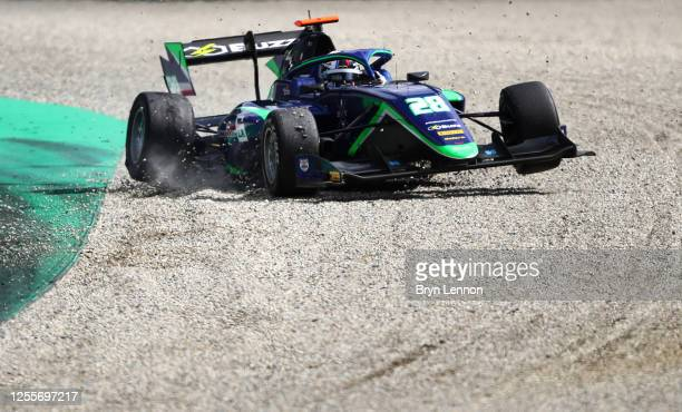 Cameron Das of United States and Carlin Buzz Racing runs wide during the sprint race for the Formula 3 Championship at Red Bull Ring on July 12, 2020...