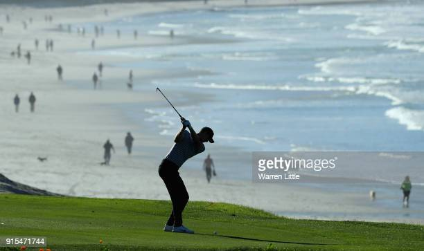 Cameron Davis of Australia plays a practice round ahead of the ATT Pebble Beach ProAm on the Pebble Beach Golf Links on February 7 2018 in Pebble...