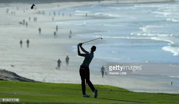 Cameron Davis of Australia plays a practice round ahead of the ATT Pebble Beach ProAm on the Pebble Beach Golf Links on February 7 2018 in Pebble...