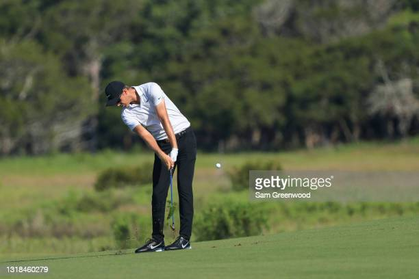 Cameron Davis of Australia plays a shot during a practice round prior to the 2021 PGA Championship at Kiawah Island Resort's Ocean Course on May 17,...
