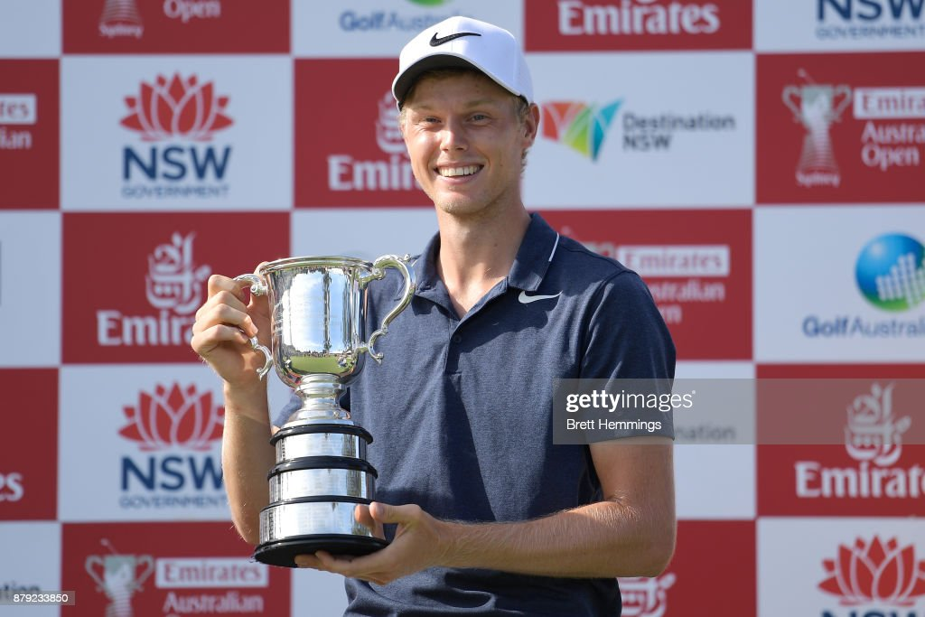 Cameron Davis of Australia poses for a photo with the trophy after victory during day four of the 2017 Australian Golf Open at The Australian Golf Club on November 26, 2017 in Sydney, Australia.