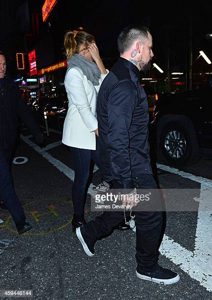 Cameron Diaz and Benji Madden leave SNL's afterparty at Ruby Foo's on November 22 2014 in New York City