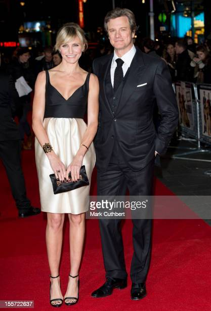"""Cameron Diaz and Colin Firth attend the World Premiere of """"Gambit"""" at Empire Leicester Square on November 7, 2012 in London, England."""