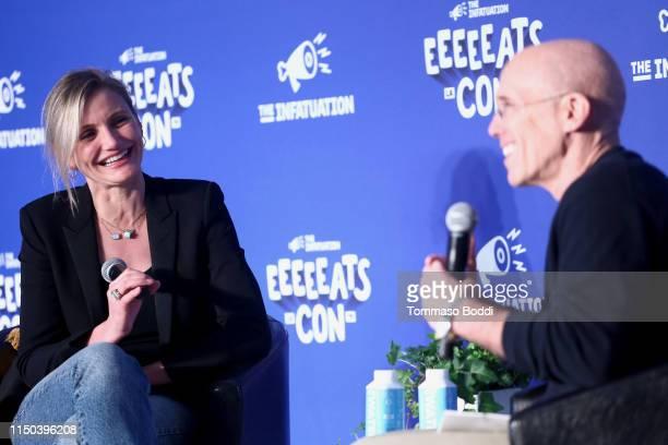 Cameron Diaz and Jeffrey Katzenberg speak onstage at EEEEEatscon 2019 at Barker Hangar on May 19, 2019 in Santa Monica, California.