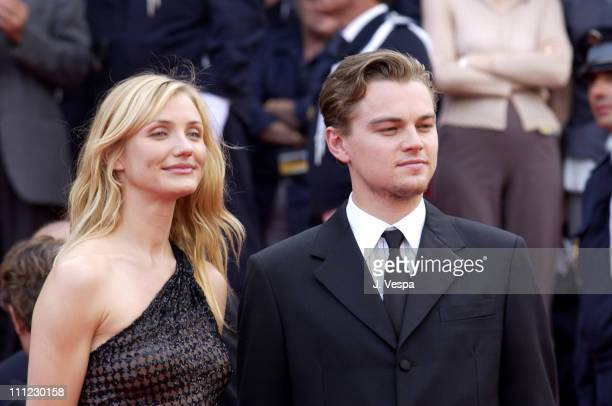 """Cameron Diaz and Leonardo DiCaprio during Cannes 2002 - """"Gangs of New York"""" Premiere at Palais des Festivals in Cannes, France."""