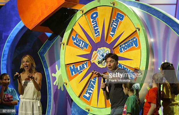 Cameron Diaz and Mike Myers spins the wheel during Nickelodeon's 17th Annual Kids' Choice Awards at Pauley Pavilion on the campus of UCLA April 3...