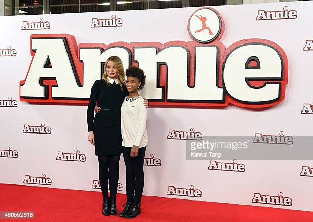 """Cameron Diaz and Quvenzhane Wallis attend a photocall for """"Annie"""" at Corinthia Hotel London on December 16, 2014 in London, England."""