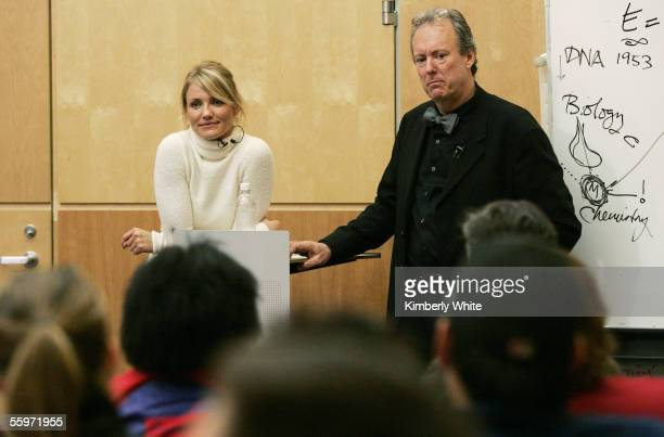 """Cameron Diaz and William McDonough appears at Stanford University for """"mtvU Stand In Series"""" October 20, 2005 in Palo Alto, CA."""