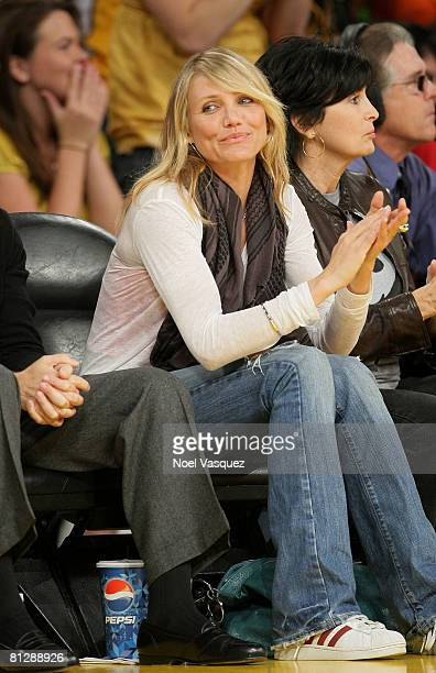 Cameron Diaz attends the Los Angeles Lakers vs San Antonio Spurs Western Conference Game 5 at the Staples Center on May 29 2008 in Los Angeles...