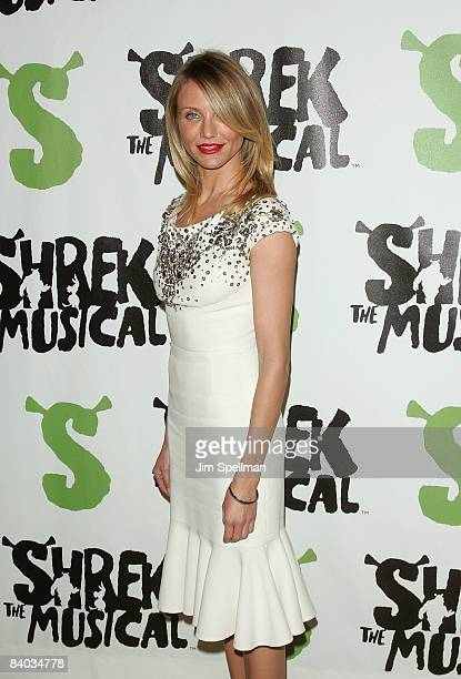 """Cameron Diaz attends the opening night party for """"Shrek The Musical"""" on Broadway at the Plaza hotel on December 14, 2008 in New York City."""