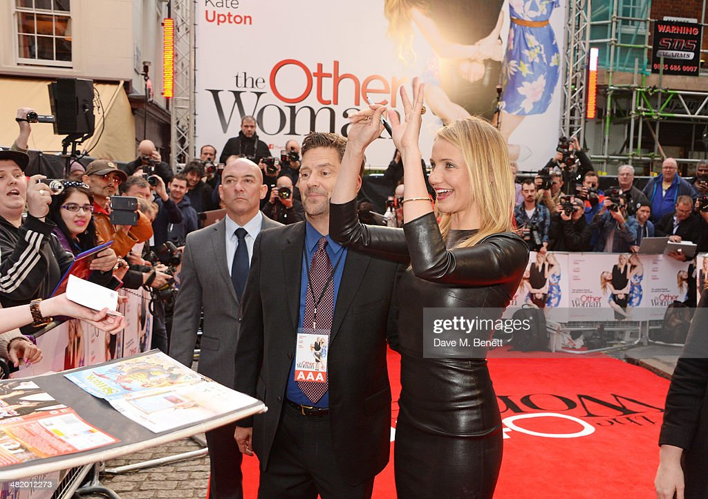 Cameron Diaz (R) attends the UK Gala Premiere of 'The Other Woman' at The Curzon Mayfair on April 2, 2014 in London, England.