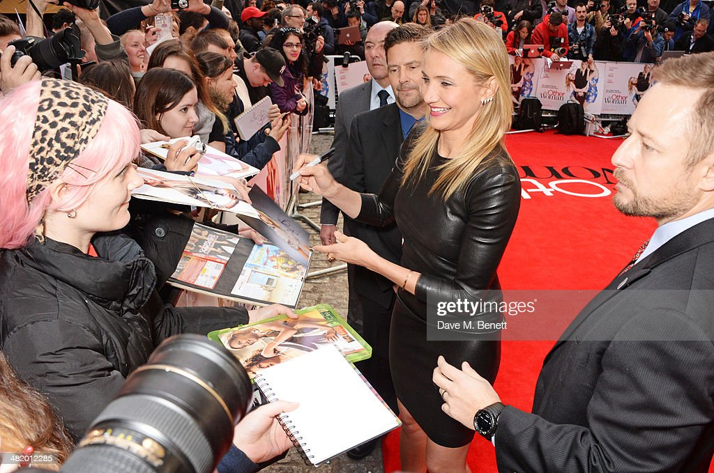 Cameron Diaz (2R) attends the UK Gala Premiere of 'The Other Woman' at The Curzon Mayfair on April 2, 2014 in London, England.