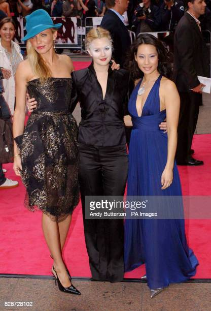 Cameron Diaz, Drew Barrymore and Lucy Liu, arriving at The Odeon Leicester Square, London, for the UK premiere of Charlie's Angels: Full Throttle.