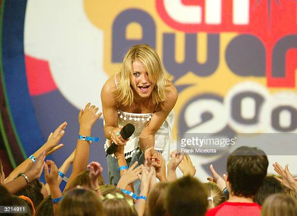 Cameron Diaz greets the kids during Nickelodeon's 17th Annual Kids' Choice Awards at Pauley Pavilion on the campus of UCLA April 3 2004 in Westwood...
