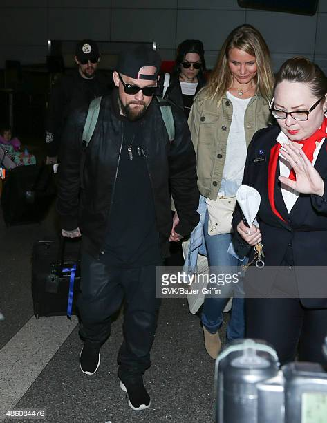 Cameron Diaz Jessie J Benji Madden and Joel Madden are seen at LAX on August 31 2015 in Los Angeles California