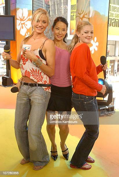 """Cameron Diaz, Lucy Liu and Drew Barrymore during """"Charlie's Angels: Full Throttle"""" Cast and """"Terminator 3: Rise of the Machines"""" Kristanna Loken..."""