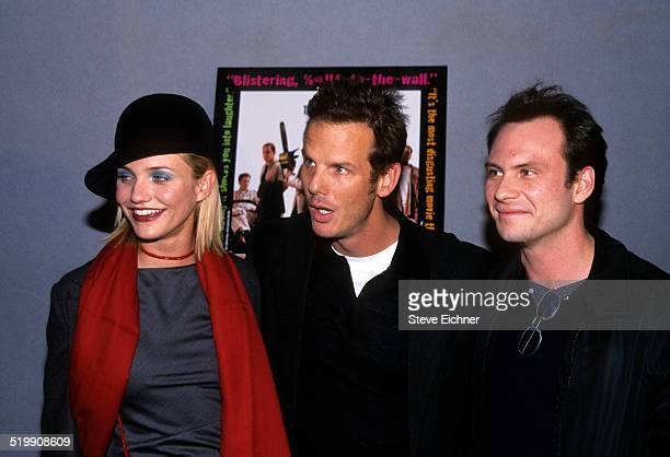 Cameron Diaz Peter Berg and Christian Slater at premiere of 'Very Bad Things' New York November 16 1998