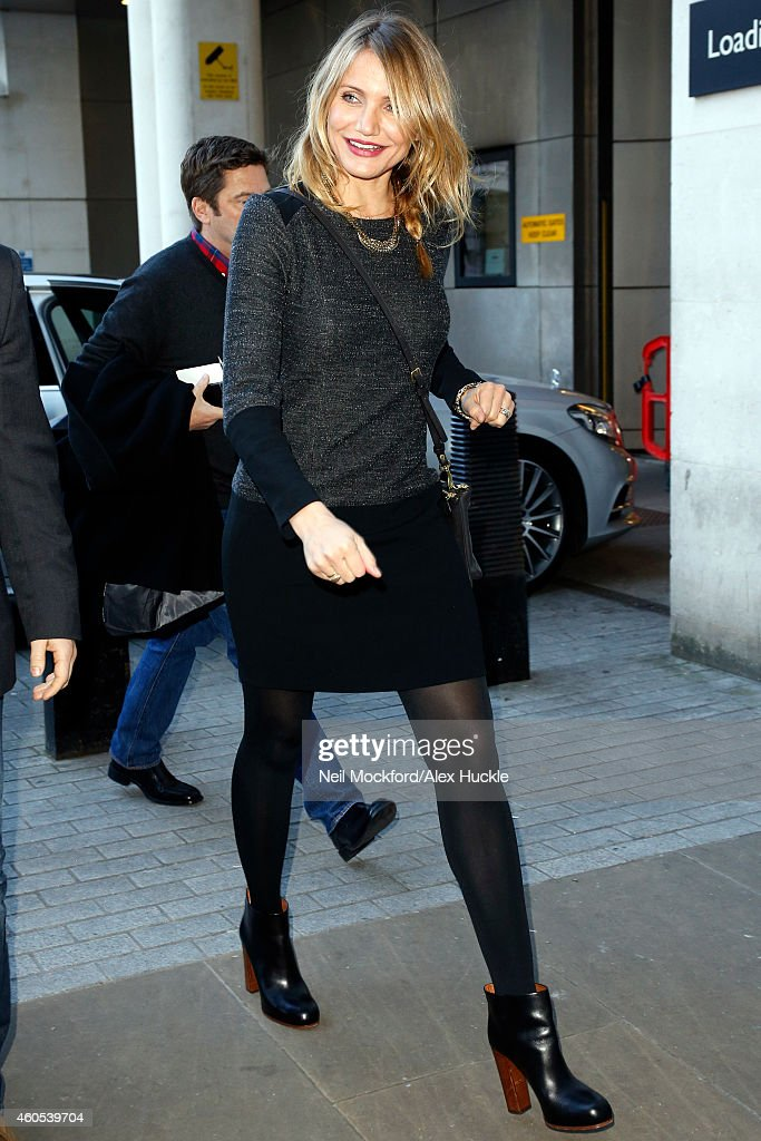 Cameron Diaz seen arriving at the BBC Radio 1 Studios on December 16, 2014 in London, England.