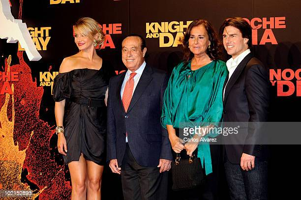 Cameron Diaz Spanish Bullfighter Curro Romero his wife Carmen Tello and Tom Cruise attend Knight and Day premiere at the Lope de Vega Theater in...