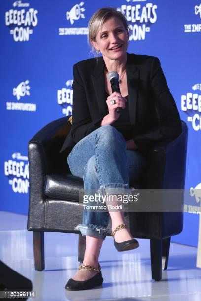 Cameron Diaz speaks onstage at EEEEEatscon 2019 at Barker Hangar on May 19, 2019 in Santa Monica, California.