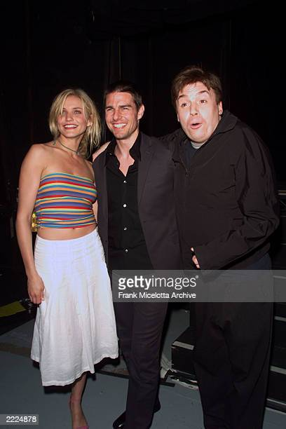 Cameron Diaz Tom Cruise and Mike Myers backstage at the MTV 2001 Movie Awards at the Shrine Auditorium in Los Angeles Ca 6/2/01 Photo by Frank...