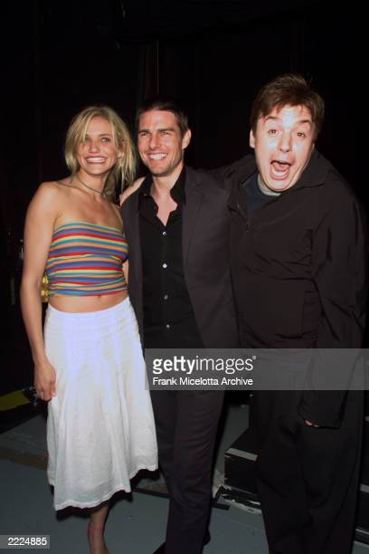 Cameron Diaz, Tom Cruise, and Mike Myers backstage at the MTV 2001 Movie Awards at the Shrine Auditorium in Los Angeles, Ca., 6/2/01. Photo by Frank...