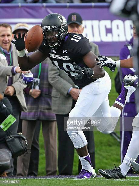 Cameron Dickerson of the Northwestern Wildcats can't make the catch against the Penn State Nittany Lions at Ryan Field on November 7 2015 in Evanston...