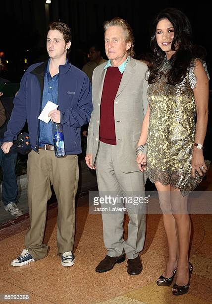 "Cameron Douglas, actor Michael Douglas and actress Catherine Zeta-Jones attend Kirk Douglas' one man show ""Before I Forget"" at The Kirk Douglas..."