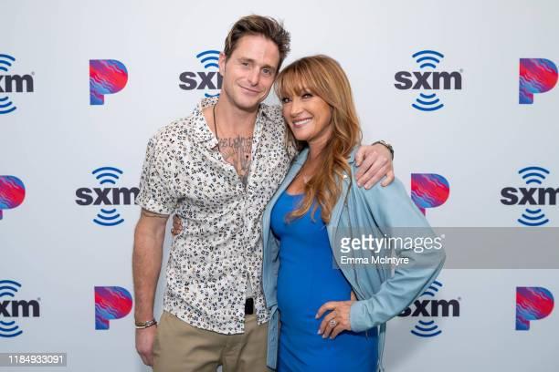 Cameron Douglas and Jane Seymour attend 'Celebrities Visit the SiriusXM Hollywood Studios in Los Angeles' at SiriusXM Studios on November 01 2019 in...