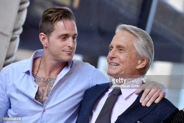 Cameron Douglas and Michael Douglas attend the ceremony honoring Michael Douglas with star on the Hollywood Walk of Fame on November 06, 2018 in...