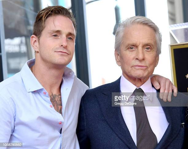 Cameron Douglas and Michael Douglas pose at the Michael Douglas Star On The Hollywood Walk Of Fame ceremony on November 6, 2018 in Hollywood,...
