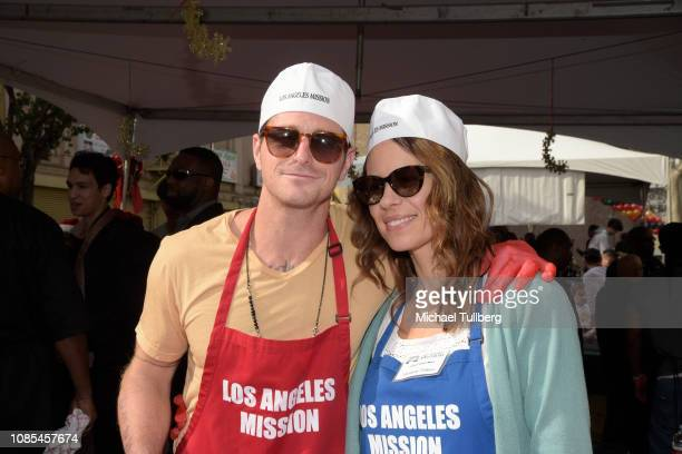 Cameron Douglas and Viviane Thibes serve up food at the annual Los Angeles Mission Christmas at Los Angeles Mission on December 21, 2018 in Los...